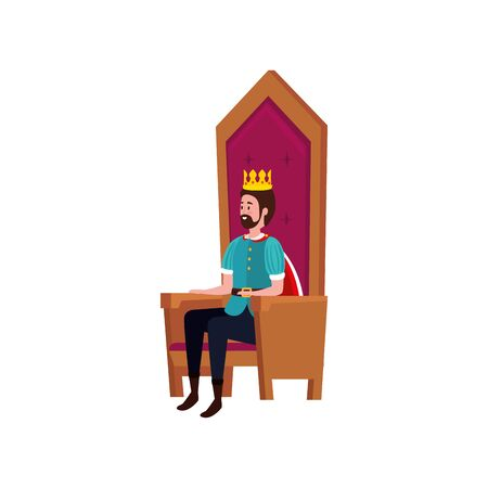 king of fairytale sitting in chair vector illustration design 向量圖像