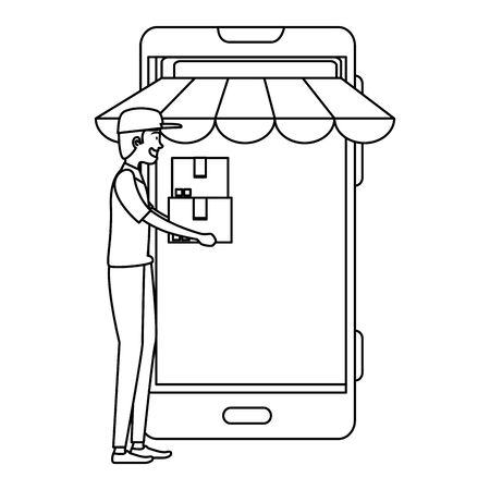 delivery worker lifting boxes with smartphone vector illustration design
