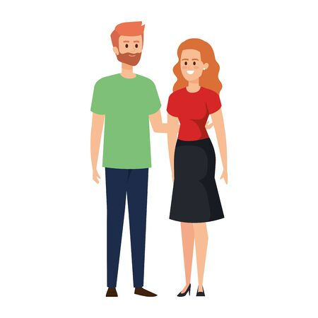 young couple lovers avatars characters vector illustration design Standard-Bild - 133149376
