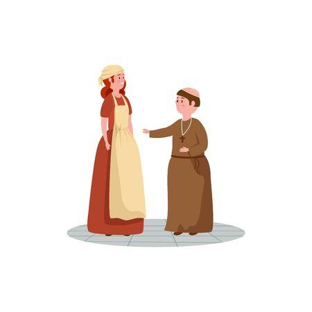 cinderella with monk of fairytale avatar character vector illustration design Ilustração