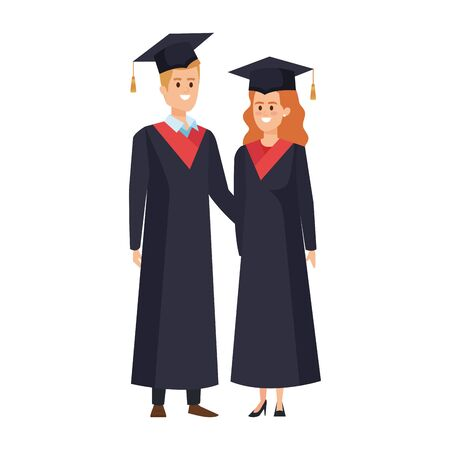 young couple students graduated characters vector illustration design Banque d'images - 133154386