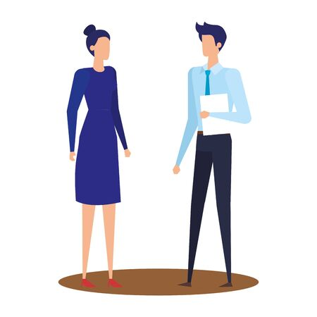 elegant young business couple avatars characters vector illustration design Stock Illustratie