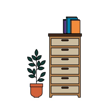 wooden drawer with books and houseplant vector illustration design Illustration
