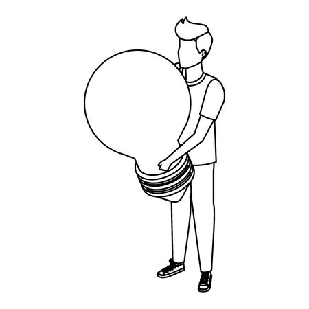 young man lifting bulb light vector illustration design