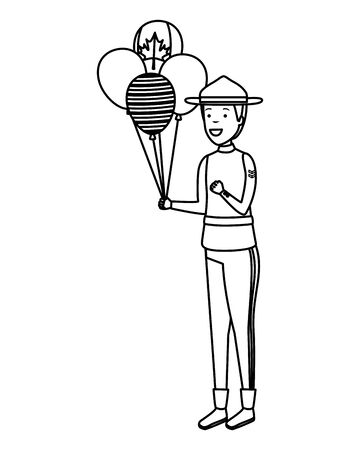 balloons helium with canadian flag and ranger vector illustration design Illustration