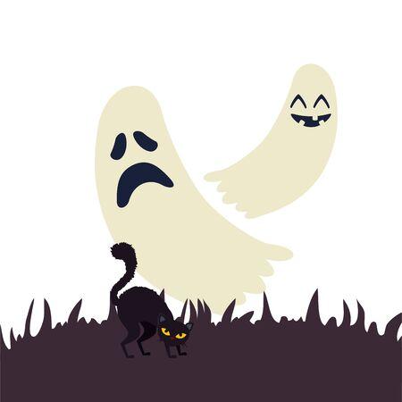 halloween ghosts with cat black vector illustration design