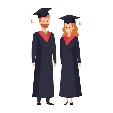 young couple students graduated characters vector illustration design Banque d'images - 133189418