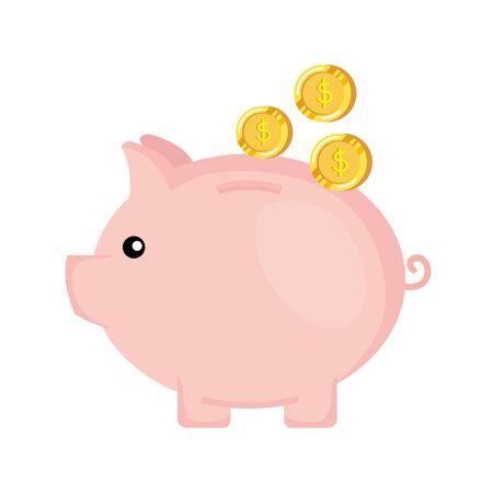 risparmio piggy con disegno di illustrazione vettoriale di denaro monete
