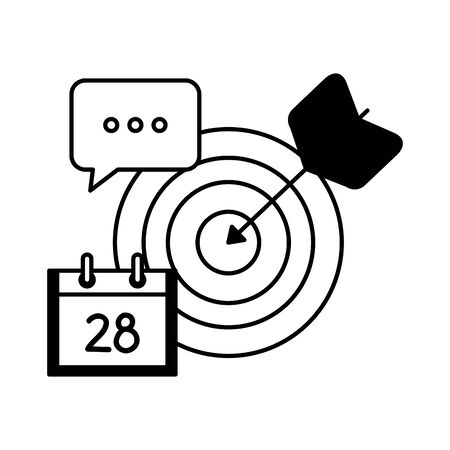 target arrow success with calendar and speech bubble vector illustration design
