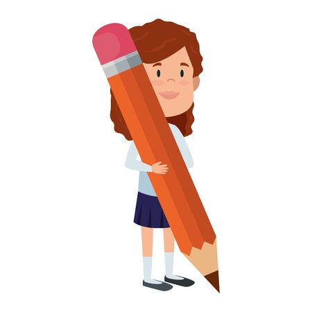 happy student girl writing with pencil vector illustration design