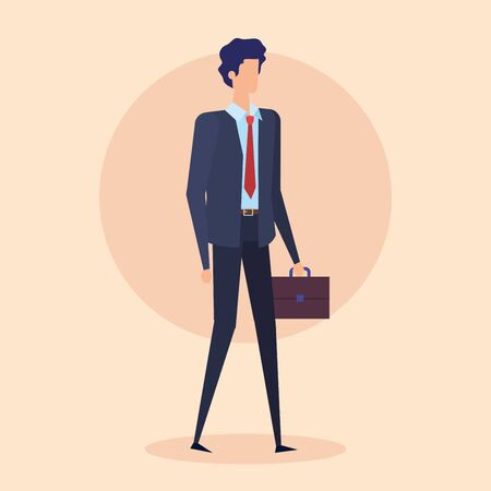 executive businessman professional with suit and suitcase over pink background, vector illustration