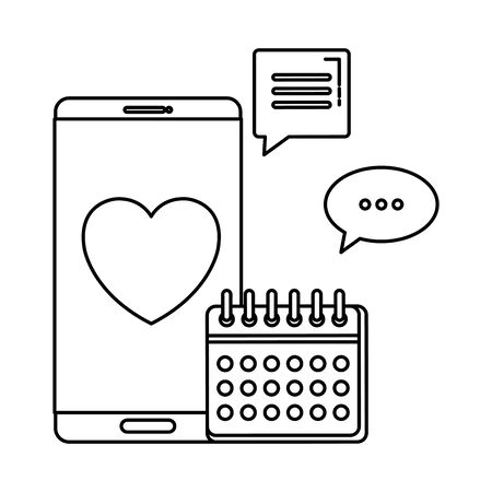 smartphone with calendar and heart vector illustration design Ilustrace