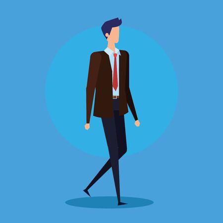 executive businessman professional with elegant suit over blue background, vector illustration