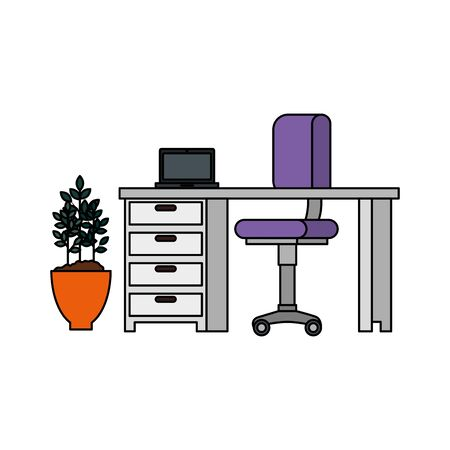 office work place scene with laptop vector illustration design 向量圖像