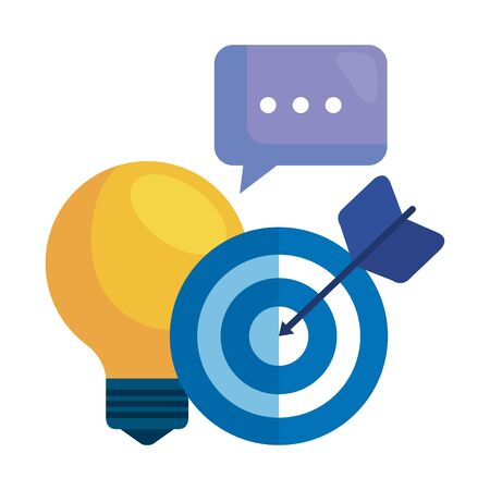 social media marketing with light bulb and icons vector illustration design