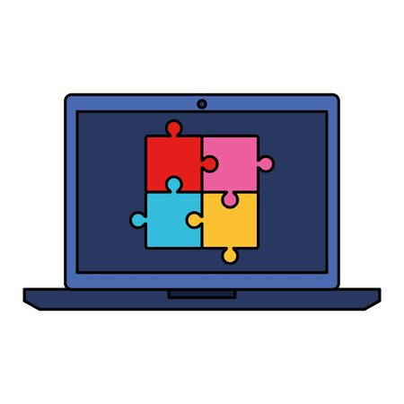 laptop with puzzle game pieces solution vector illustration design