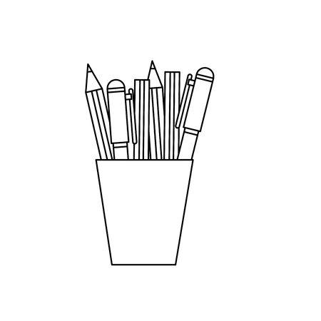 pencils holder office device icon vector illustration design Stock Illustratie