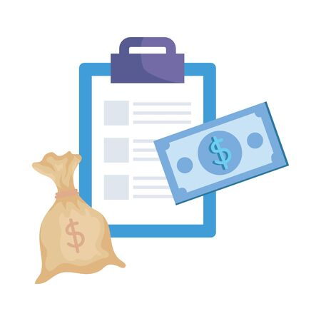 checklist clipboard with money bag vector illustration design