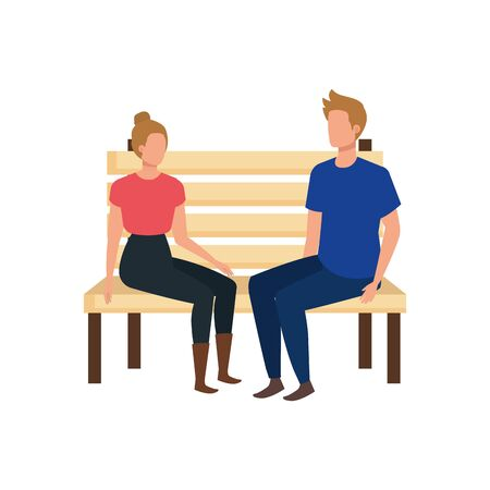 young lovers couple seated in park chair characters vector illustration design Standard-Bild - 133152005