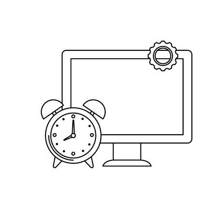 desktop computer with alarm clock vector illustration design