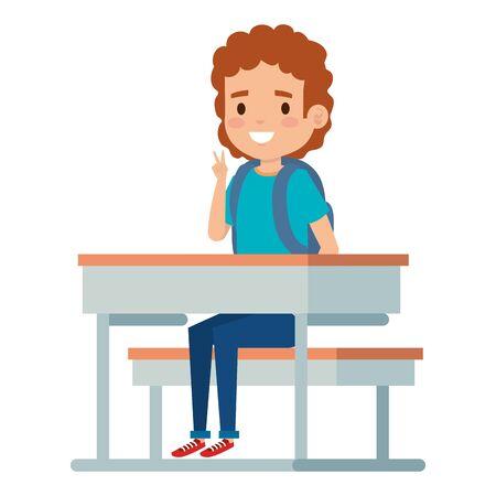 happy student boy seated in school desk vector illustration design Foto de archivo - 133240314