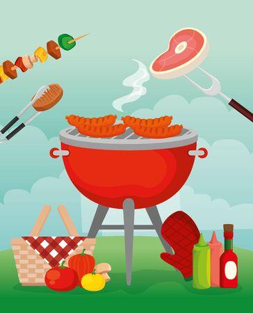delicious grill menu with oven and food vector illustration design Archivio Fotografico - 133165883