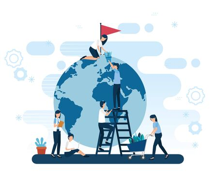 teamwork workers with planet earth and icons vector illustration design