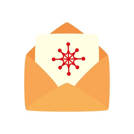envelope with card christmas isolated icon vector illustration design Illustration