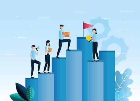 teamwork workers standing in infographic vector illustration design Stock Illustratie