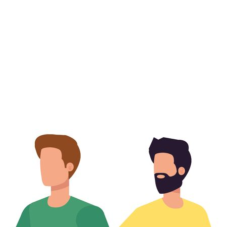 young and casual men characters vector illustration design Illusztráció