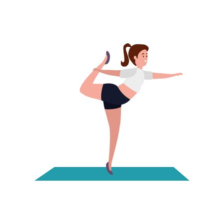 beauty woman practicing pilates position in mattress vector illustration design Ilustrace