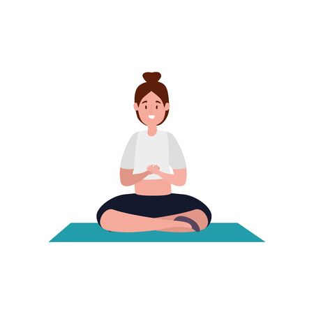 woman practicing pilates with lotus position in mattress vector illustration design
