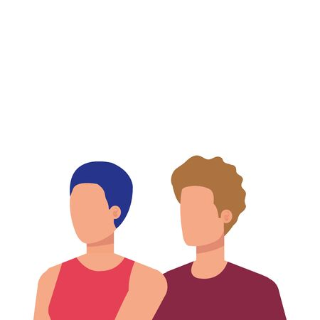young lovers couple avatars characters vector illustration design Illusztráció