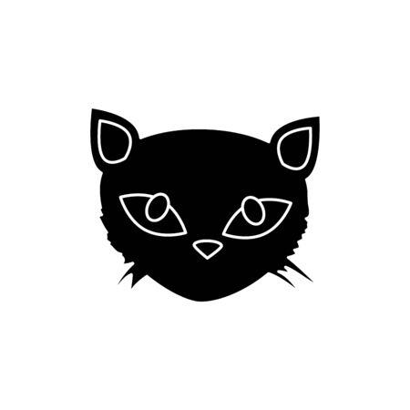 Cara de gato negro, diseño de ilustraciones vectoriales icono aislado de halloween