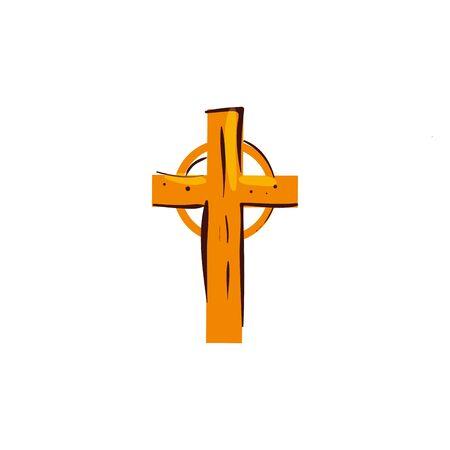 Holzkreuz katholischen religiösen isolierten Symbol Vektor Illustration Design
