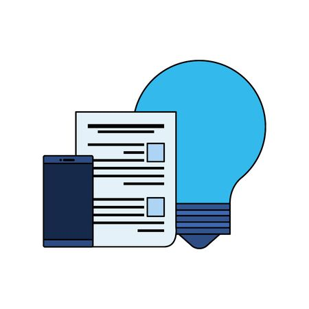 paper document file with bulb light vector illustration design