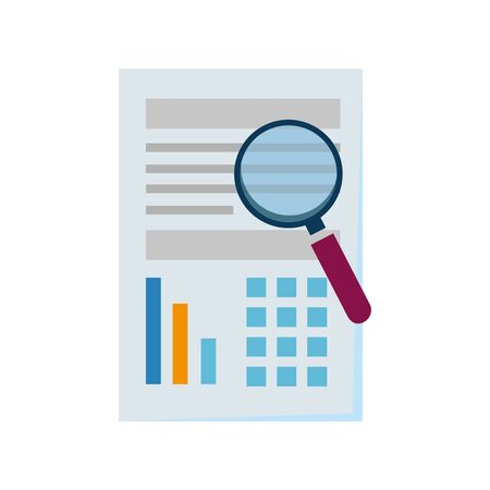 paper document financial with magnifying glass vector illustration design 일러스트
