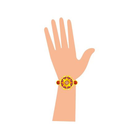 hand with bohemian style bracelet vector illustration design