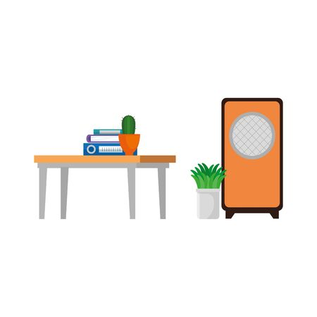 house place with table wooden scene vector illustration design
