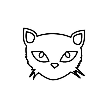 head of cat feline animal of halloween vector illustration design Ilustração