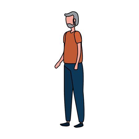 cute grandfather avatar character icon vector illustration design