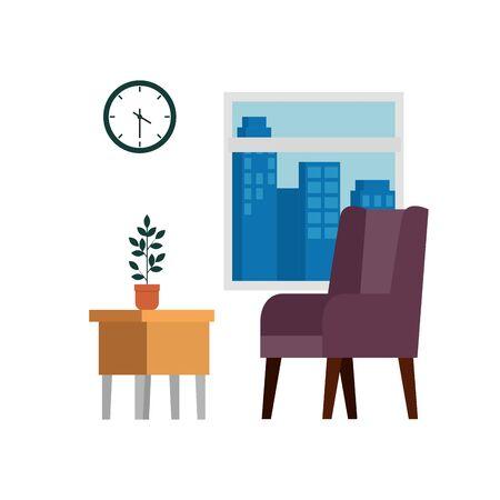 confortable sofa and wooden table livingroom scene vector illustration design