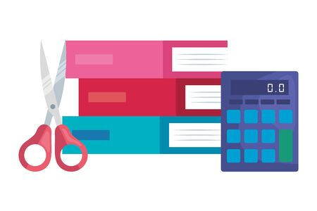 pile textbooks with scissor and calculator vector illustration design 일러스트