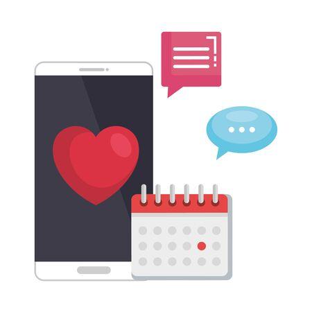 smartphone with calendar and heart vector illustration design Illustration