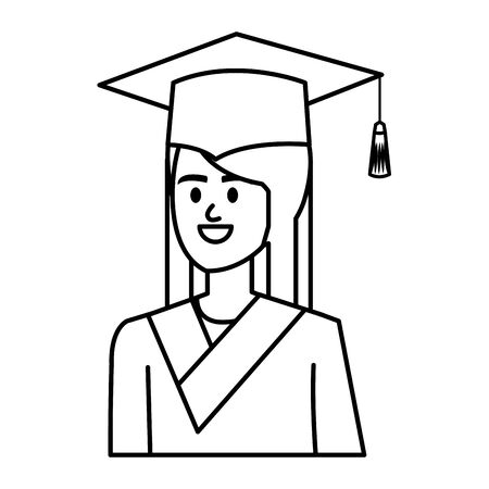 young woman student graduated character vector illustration design Banque d'images - 133208637