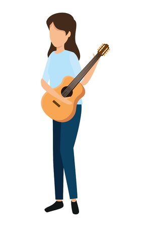 young woman playing guitar instrument vector illustration design Stok Fotoğraf - 133210994