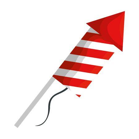 rocket fireworks celebration isolated icon illustration design Illustration