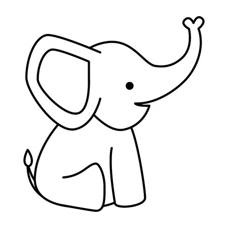 cute little elephant baby character vector illustration design