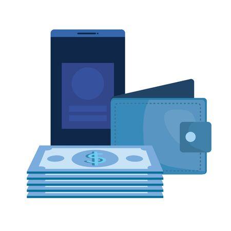 bills money dollars with wallet and smartphone vector illustration design Stock Vector - 133268799