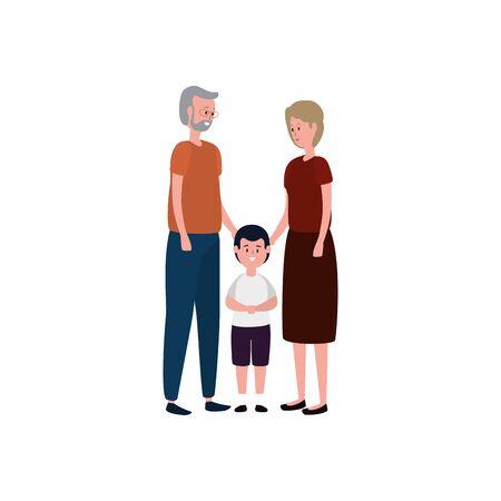 cute grandparents couple with grandson vector illustration design